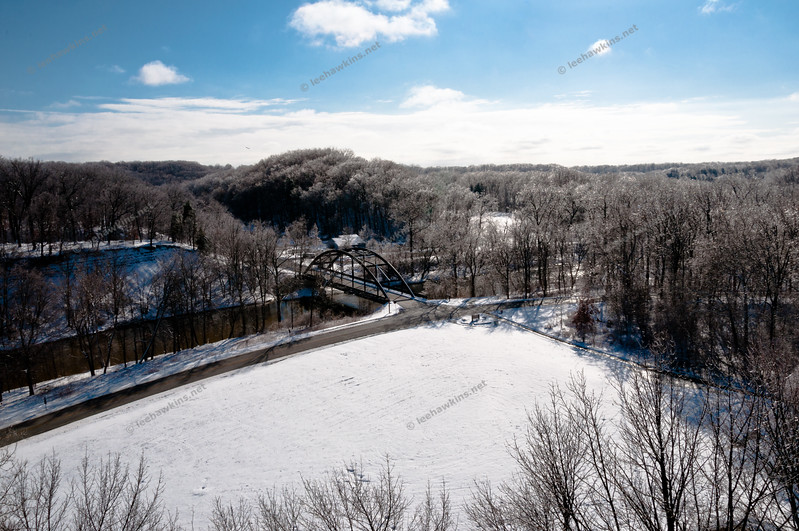 The Valley Parkway and Old Lorain Road near Big Met, as seen from the Lorain Road viaduct after a winter storm coated all of the trees with ice and then dropped several inches of snow in February 2011.