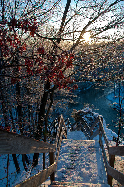 The steps down Fort Hill near the Rocky River Nature Center at sunrise after a two day ice & snow storm in February 2011.
