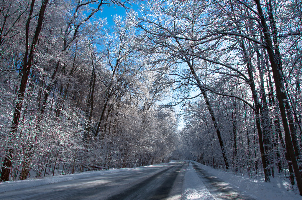 The Valley Parkway turned into a winter wonderland after a ice & snow storm in February 2011.  This is the view heading north just before the Brookpark Road viaduct.