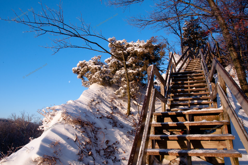 The steps up Fort Hill near the Rocky River Nature Center at sunrise after a two day ice & snow storm in February 2011.