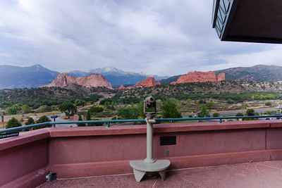 Rock Formations and Pike's Peak - Garden of the Gods - Colorado Springs CO.  (View from 2nd floor deck of park's visitors center.)