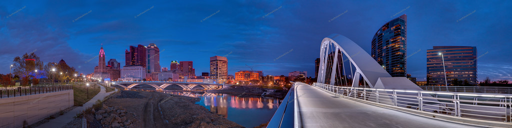 Dusk on the Main Street Bridge, Columbus, Ohio