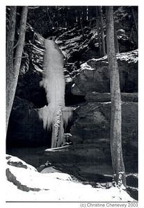 One of the Ice Falls located along the walk into Conkles Hollow