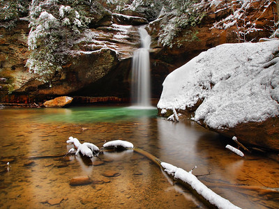 Lower Falls At Old Man's Cave Snow Day #2