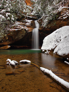 Lower Falls At Old Man's Cave Snow Day #1