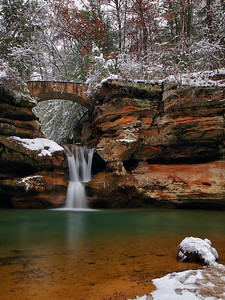 Upper Falls At Old Man's Cave Snow Day