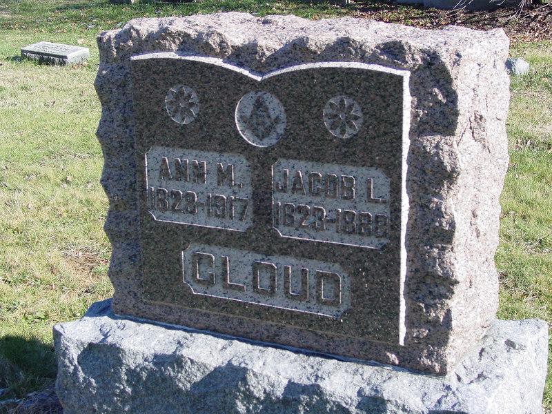 Ann M Cloud<br /> Jacob L. Cloud <br /> lynchburg ohio Masonic Cemetery