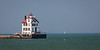 The Lorain Lighthouse has been standing on the shores of Lake Erie since 1917. Lorain, OH<br /> <br /> OH-120707-0040