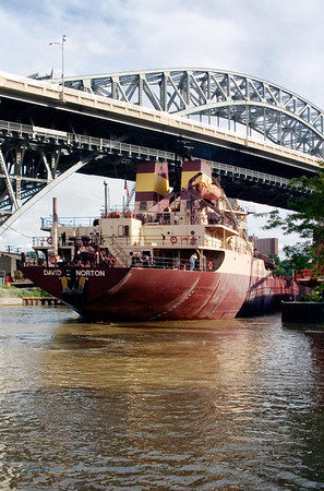Ore Boat Wending Its Way Down the Cuyahoga River