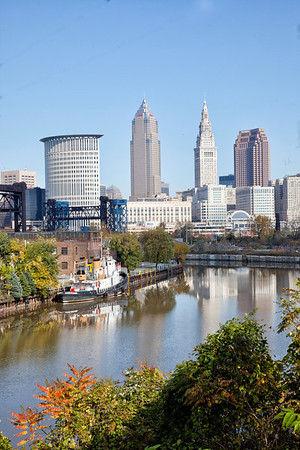 Cleveland Skyline and Cuyahoga River Viewed from Tremont Area