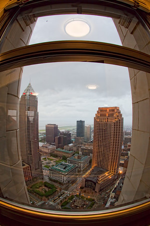 Fisheye View of Cleveland from Terminal Tower Observation Floor