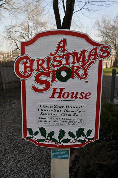 """Christmas Story House  On Thur., Dec. 6, 2012, Penny and I drove down to Tremont, OH, a Cleveland suburb, to visit the home where a portion of the movie """"Christmas Story"""" was filmed.  On our tour we had just 14 people and we were very fortunate we went early as it is a popular tour at this time of the year.  As an example, 2,800 people visited the property on Thanksgiving week..  It was a fun tour and we were glad we did it.  Following the tour, we drove behind the house where some of the industrial part of Cleveland thrives in a steel mill.  After that, we had lunch at Sokolowski's University Inn that overlooks the West Bank of the Cuyahoga River.  It was an interesting day.  Cheers!  Ray   Video of the Christmas Story House - Tremont, (Cleveland) Ohio (Ralphie's home--don't shoot your eye out!)  http://ray-penny.smugmug.com/Video-Photo-Holds/Video-Hold/i-S95k3BG/A    Photos taken that day:  http://ray-penny.smugmug.com/Video-Photo-Holds/Photo-Hold  Interesting website covering the house  http://www.achristmasstoryhouse.com"""