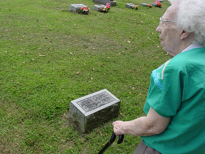 Claribel Laymon at her sister's grave (Helen Laymon) Troutwine Cemetery, Lynchburg, Ohio