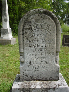 Mary Liggett daughter of William and Mary Liggett Troutwine Cemetery, Lynchburg, Ohio