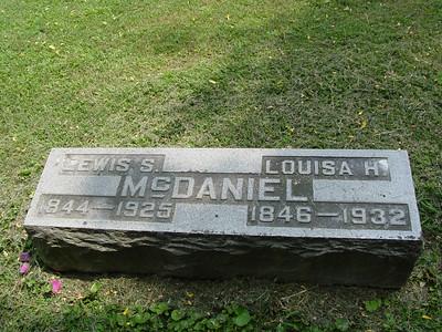 Luella's parents: Lewis S. McDaniel and Louisa H. McDaniel Troutwine Cemetery, Lynchburg, Ohio