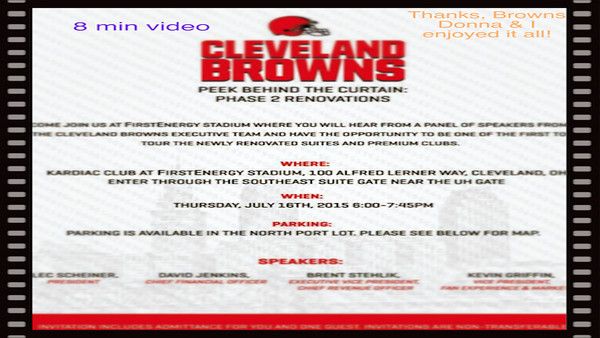 VIDEO:  8 mins -- Browns - Behind the Curtains