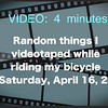 VIDEO:  4 1/4 minutes -- Bike Ride in Westlake, OH to the Farmers' Mkt., Crocker Park, Westlake. - - Sat., April 16, 2016