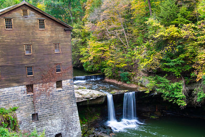 usa; ohio; youngstown; architecture; buildings; mill; landscape; waterfall; foliage; autumn, lanterman's mill