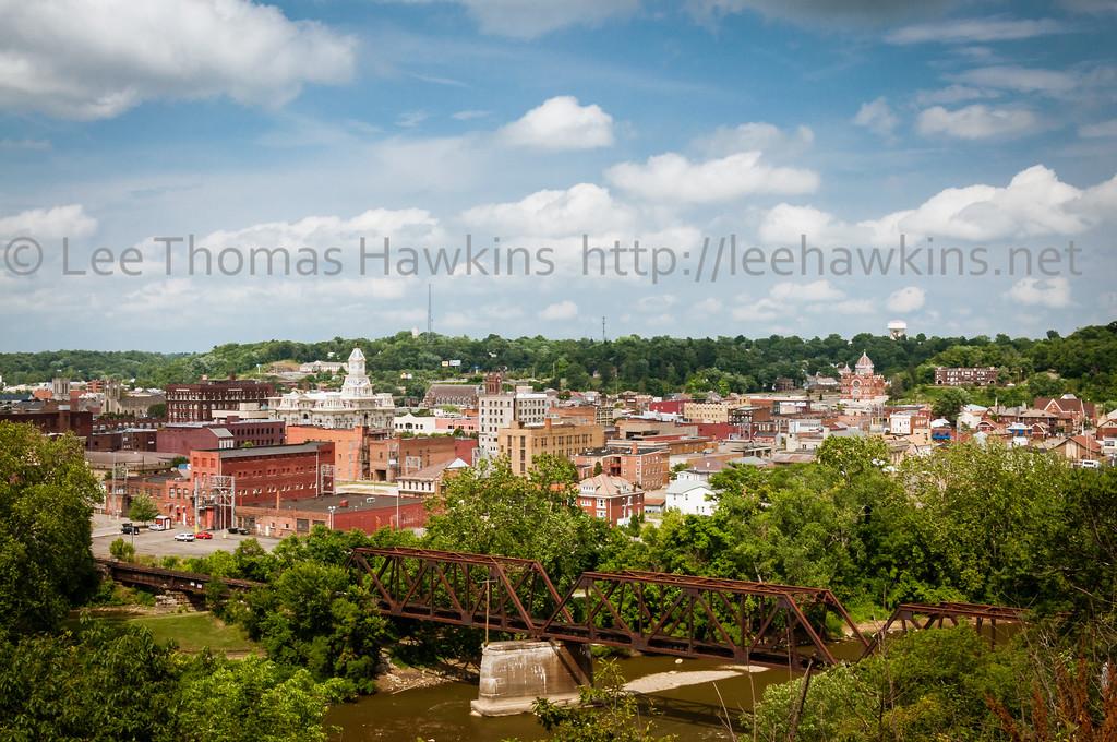 Downtown Zanesville, Ohio, along the Muskingum River.