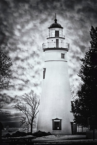 Marblehead lighthouse on a dramatic sky morning
