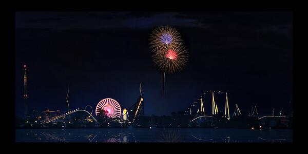 Cedar Point with Fireworks ( black border)