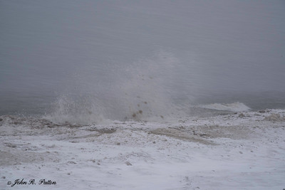 Winter storm on shore of Lake Erie.