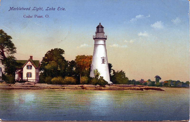A turn of the century view of the Marblehead Lighthouse and the Keepers dwelling