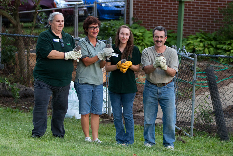 Manno, Marti, Savannah and Rich ready to release the little ones back in to the wild.