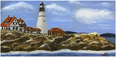 Portland Headlight. Painting Art Print   Fine Art Print from Oil On Canvas Painting Landscape Painting Art Oil On Canvas Wall Art
