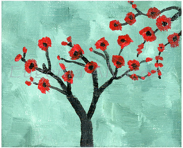 Abstract red and Green Tree - Oil on Canvas Painting