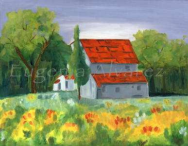 Country House - Oil on Canvas Painting