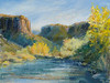 "Rio Grande Upriver Buttes.   9""x12"".  Oil Plein Air"