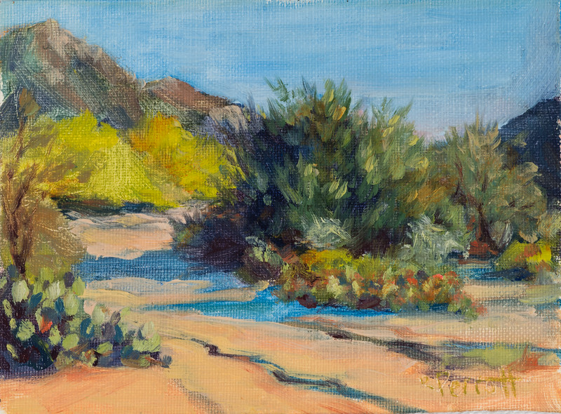 "Tucson Dry River Wash         5""x7""        Oil      Plein Air"