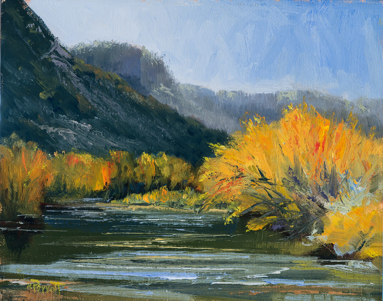 "Autumn Rio Grande River   8""x10"" oil  Plein Air"