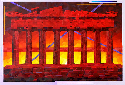 """Parthenon Ruins Sunset"""