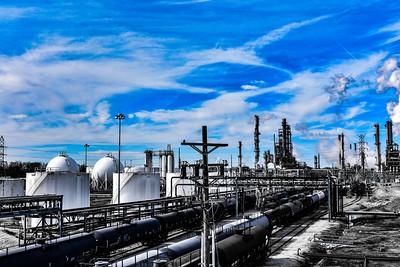 Oil Refinery Blue Sky