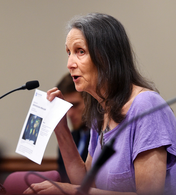 . Marie Adams, of Boulder, points out an article she wants the commission to be aware of. The Colorado Oil & Gas Conservation Commission heard concerns from the public over proposals for oil and gas drilling near Erie. For more photos, go to dailycamera.com. Cliff Grassmick  Staff Photographer  July 31, 2018