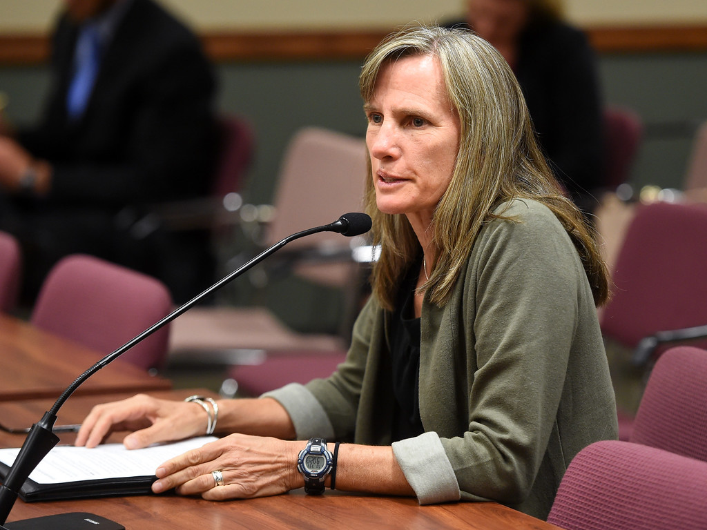 . Boulder County Commissioner, Elise Jones, talks about her concerns in the hearing on Tuesday. The Colorado Oil & Gas Conservation Commission heard concerns from the public over proposals for oil and gas drilling near Erie. For more photos, go to dailycamera.com. Cliff Grassmick  Staff Photographer  July 31, 2018