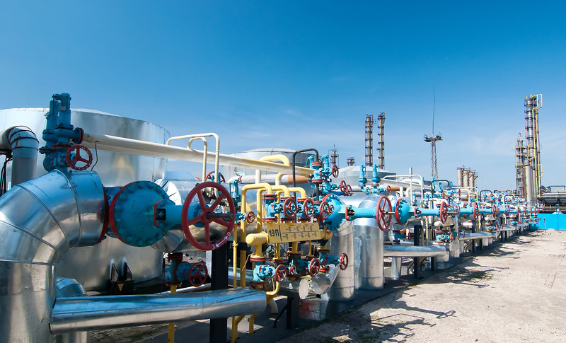 Gas industry. row red gas valves