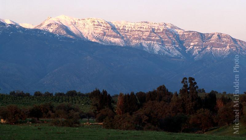 Topa topa with winter snows Ojai Valley  Color of Ojai   , Light & Spirit