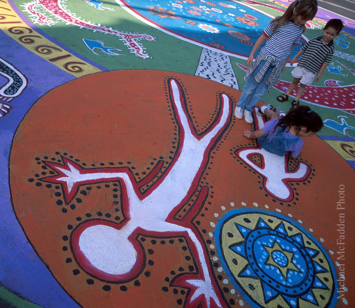 Ojai Day Street Painting with Children Rising from Painting Ojai Valley  Color of Ojai   , Light & Spirit