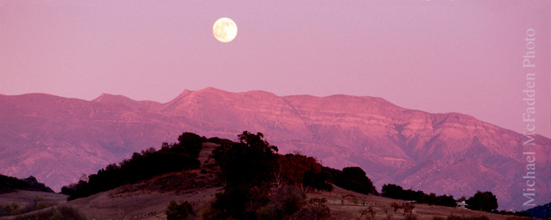 Pink Moment Moonrise Ojai Valley  Color of Ojai, Light & Spirit