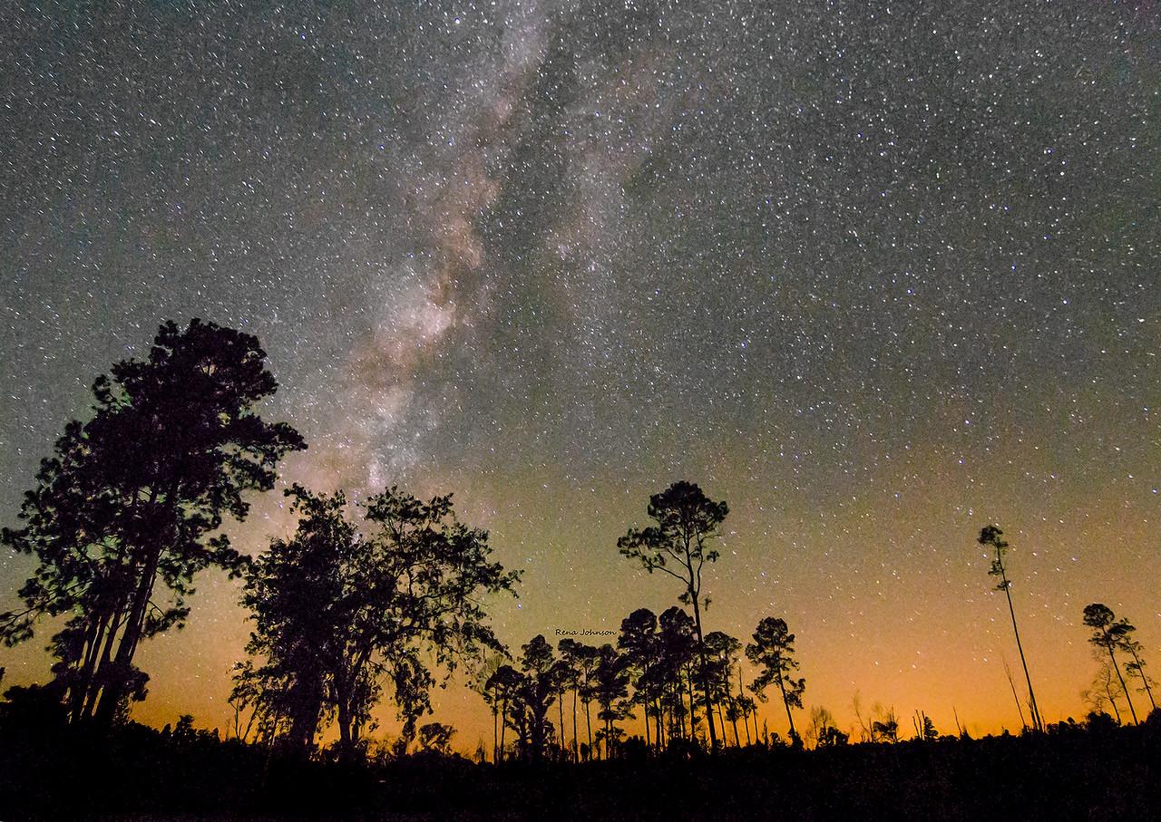 Milky Way over Stephen C Foster and Okefenokee Swamp