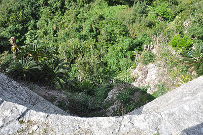 Looking down the outer walls on the cliff side.