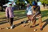 Groupe de femmes agées reunies pour leur partie quotidienne de gateball à Kume-jima. Ile de Kume/Archipel d'Okinawa/Japon/