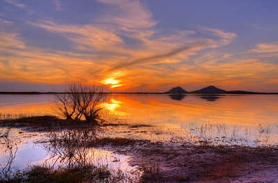 Sunset at Tom Steed Lake