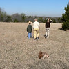 Conner, Gely, Arva and Keats the dog in the field behind the house.