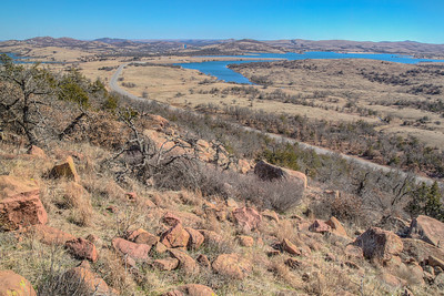 Shot from road up Mount Scott in Wichita Mountains of Oklahoma