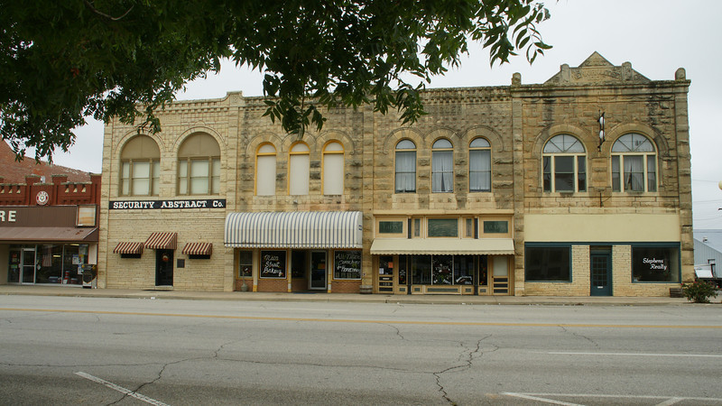 Limestone buildings in downtown Newkirk