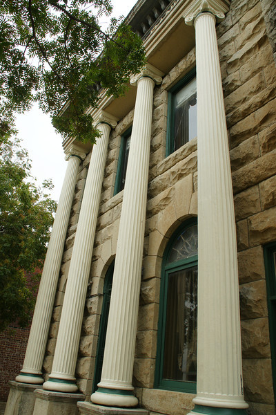 Columns on former bank building in Newkirk
